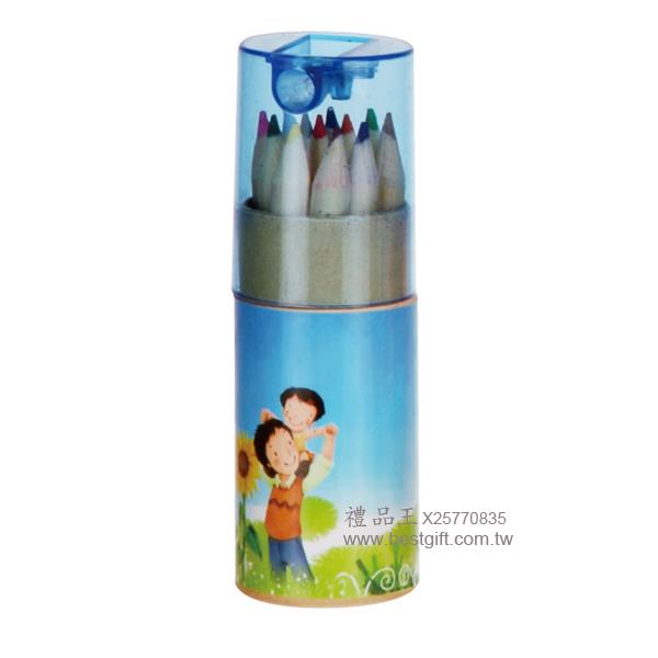 桶裝12色木頭廣告鉛筆削筆器(短)